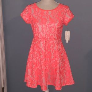 New My Michelle girl neon orange lace floral dress